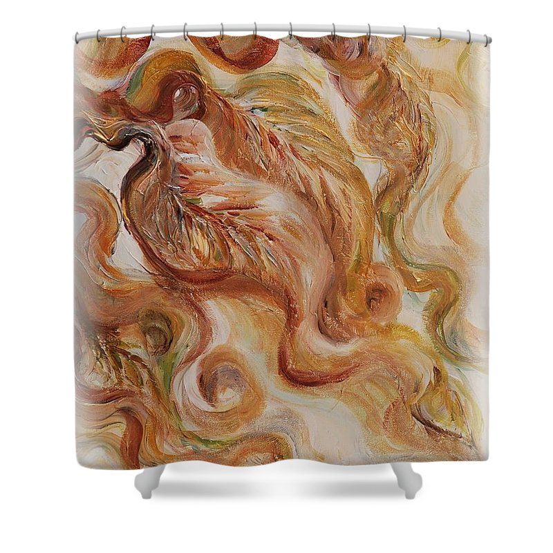 Leaves Shower Curtain featuring the painting Reflective Leaves by Nadine Rippelmeyer
