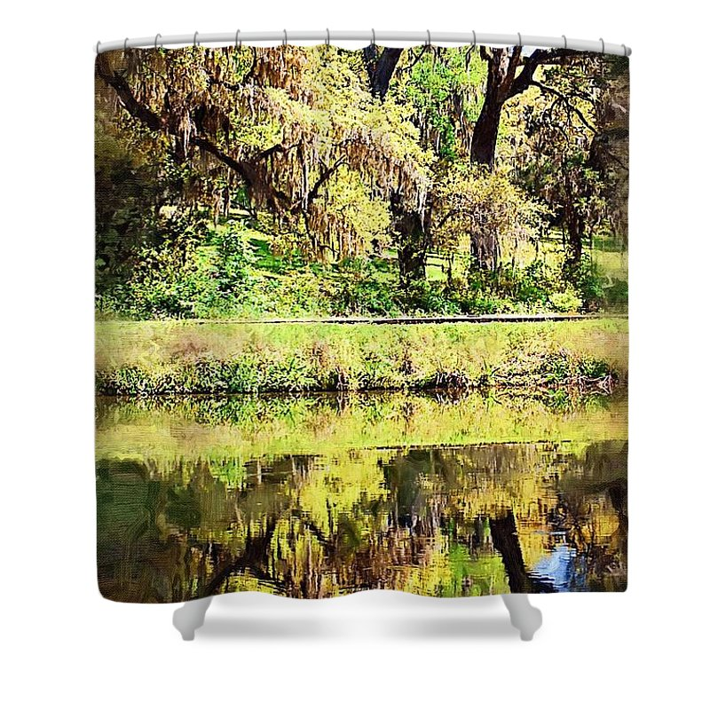 Landscape Shower Curtain featuring the photograph Reflective Live Oaks by Donna Bentley
