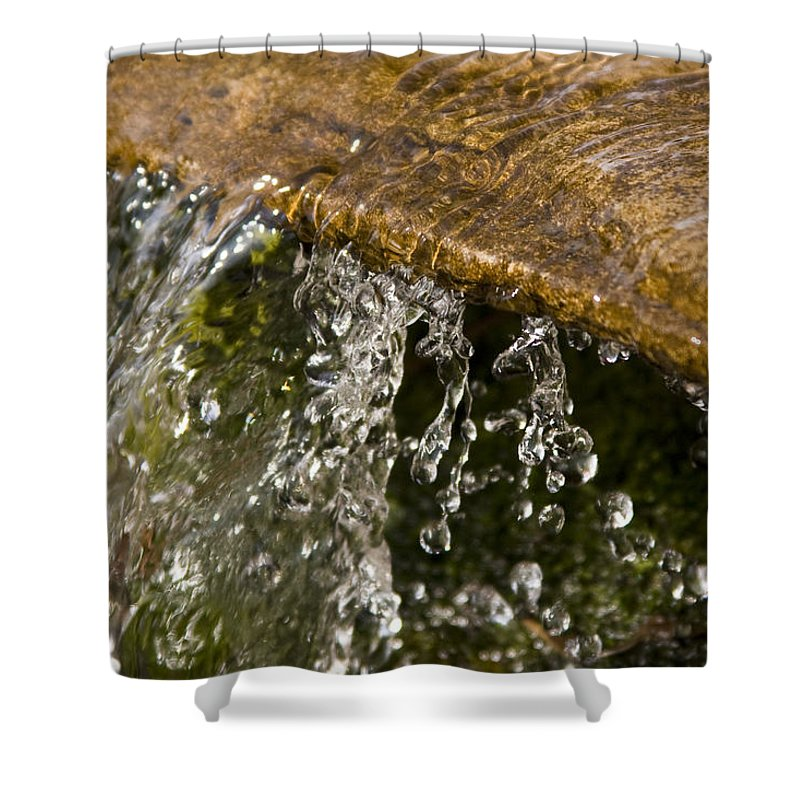 Water Stream Creek Drop Droplet Stone Run Nature Clear Cold Fall Shower Curtain featuring the photograph Refreshment by Andrei Shliakhau