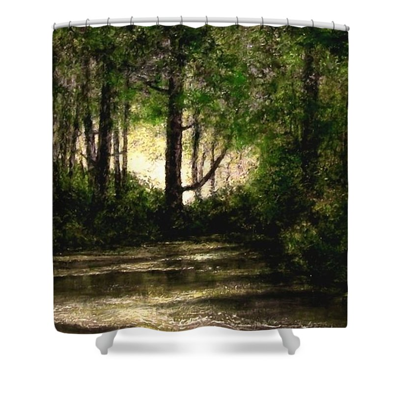 Tonalist Shower Curtain featuring the painting Refuge - Early Morning by Jim Gola