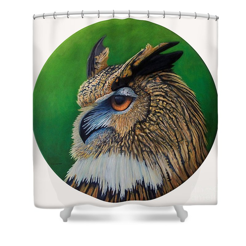Owl Shower Curtain featuring the painting Regal Gaze by Brian Commerford
