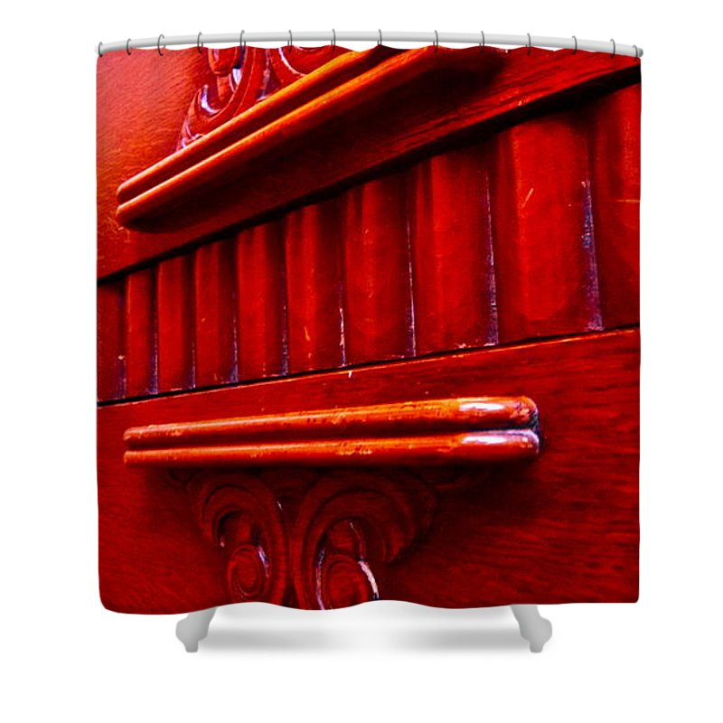 Photograph Of Credenza Shower Curtain featuring the photograph Regally Red by Gwyn Newcombe