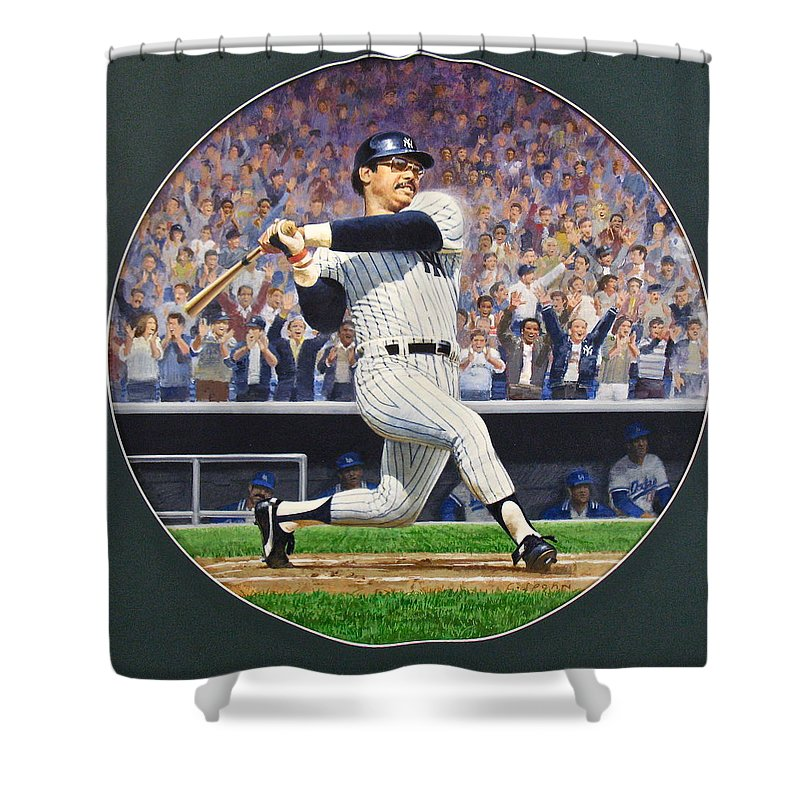 Acrylic Painting Shower Curtain featuring the painting Reggie Jackson by Cliff Spohn