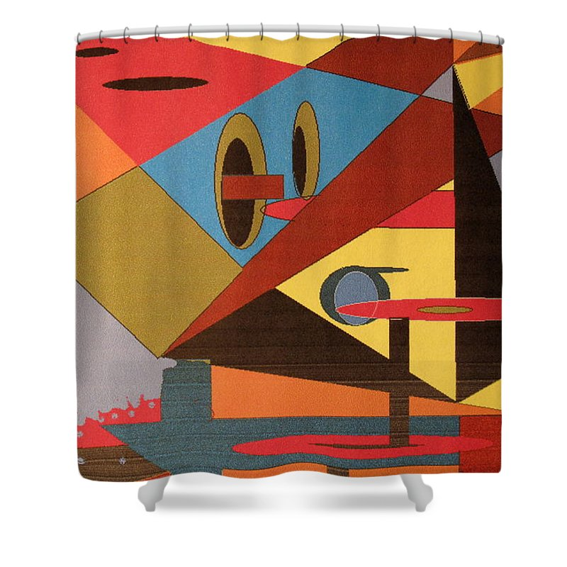 Abstract Shower Curtain featuring the digital art Regret by Ian MacDonald
