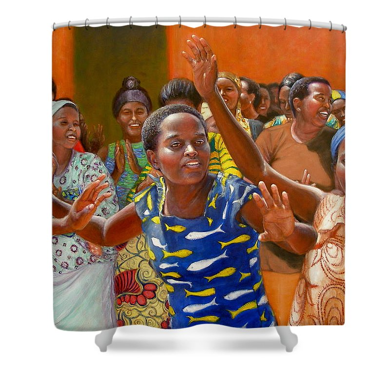 Realism Shower Curtain featuring the painting Rejoice by Donelli DiMaria