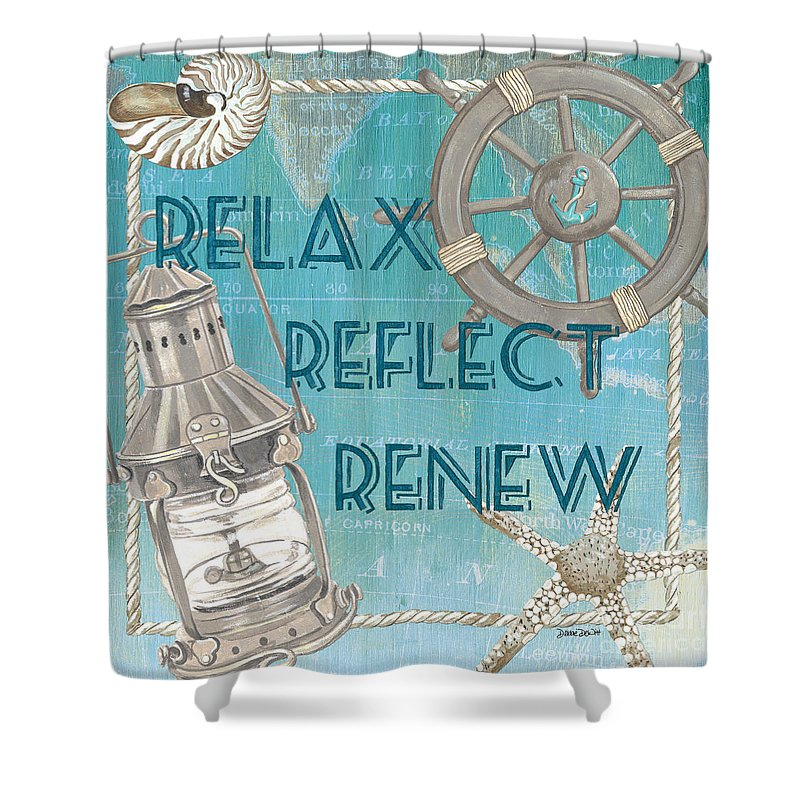 Sun Shower Curtain featuring the painting Relax Reflect Renew by Debbie DeWitt