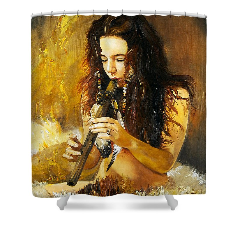 Woman Shower Curtain featuring the painting Release by J W Baker