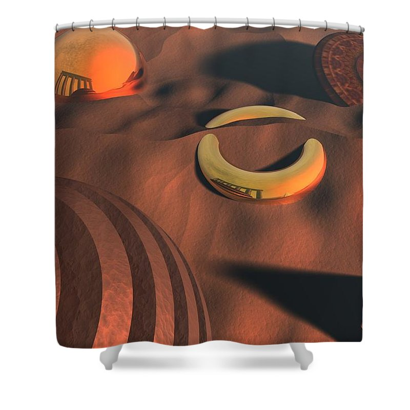 3d Shower Curtain featuring the digital art Relics by Lyle Hatch
