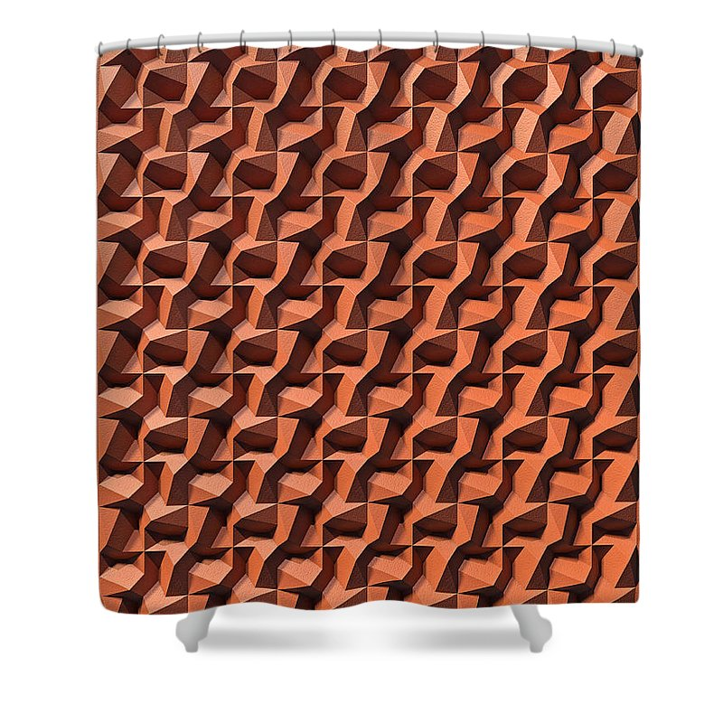 Relief Shower Curtain featuring the digital art Relief D1 Leather by Frans Blok