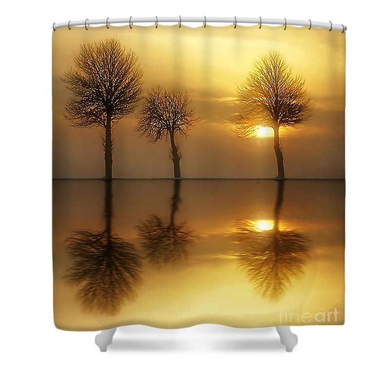 Sunset Shower Curtain featuring the photograph Remains Of The Day by Jacky Gerritsen