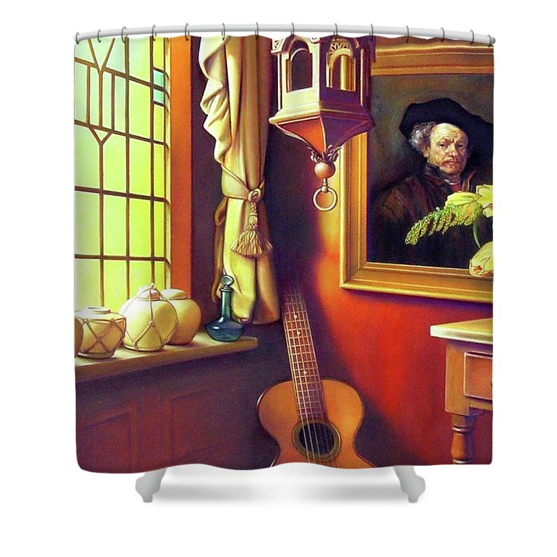 Rembrandt Shower Curtain featuring the painting Rembrandt's Hurdy-gurdy by Patrick Anthony Pierson
