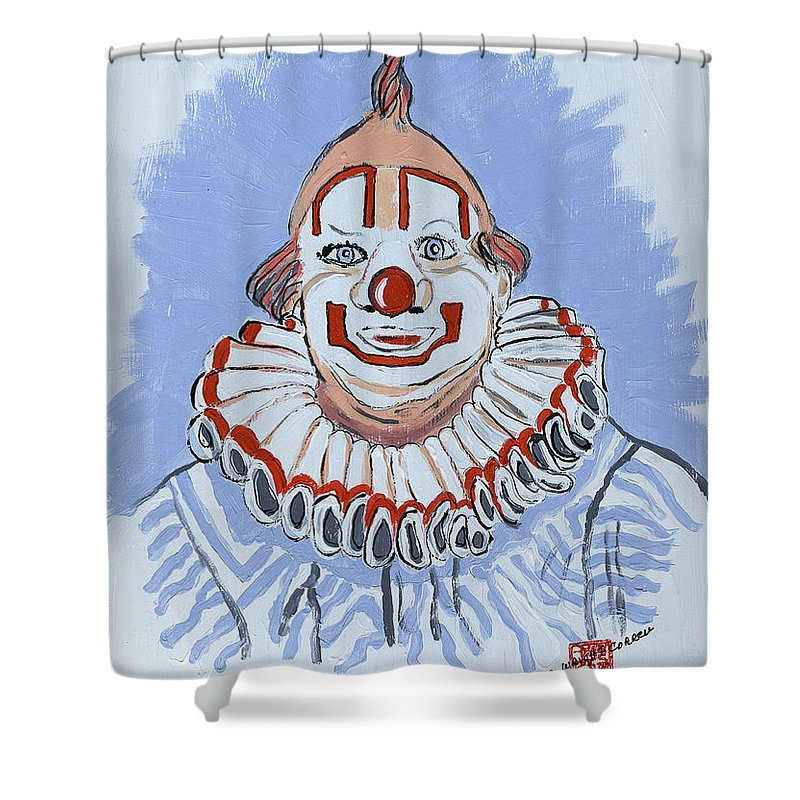 Clowns Shower Curtain featuring the painting Remembering Clarabelle The Clown by Arlene Wright-Correll