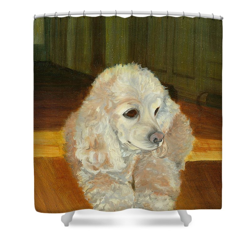 Animal Shower Curtain featuring the painting Remembering Morgan by Paula Emery