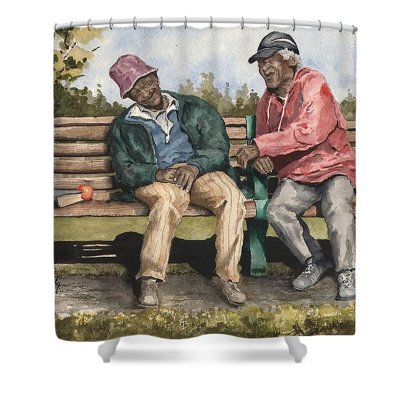 Park Shower Curtain featuring the painting Remembering The Good Times by Sam Sidders