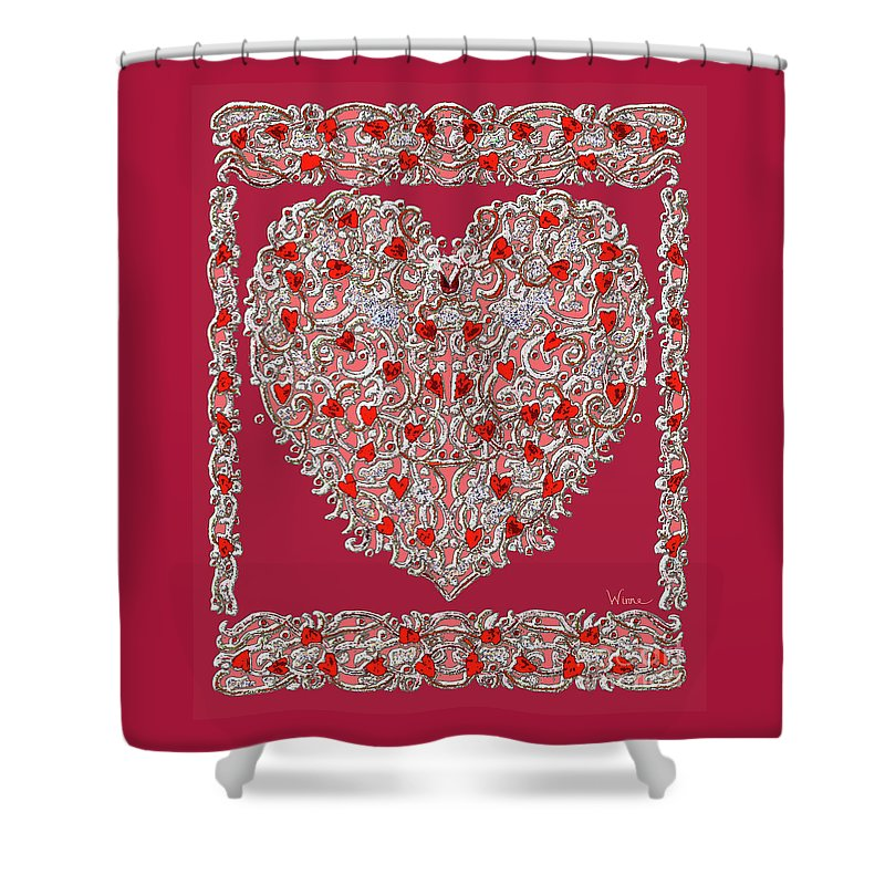 Renaissance Style Heart With Dark Red Background Shower Curtain for ...