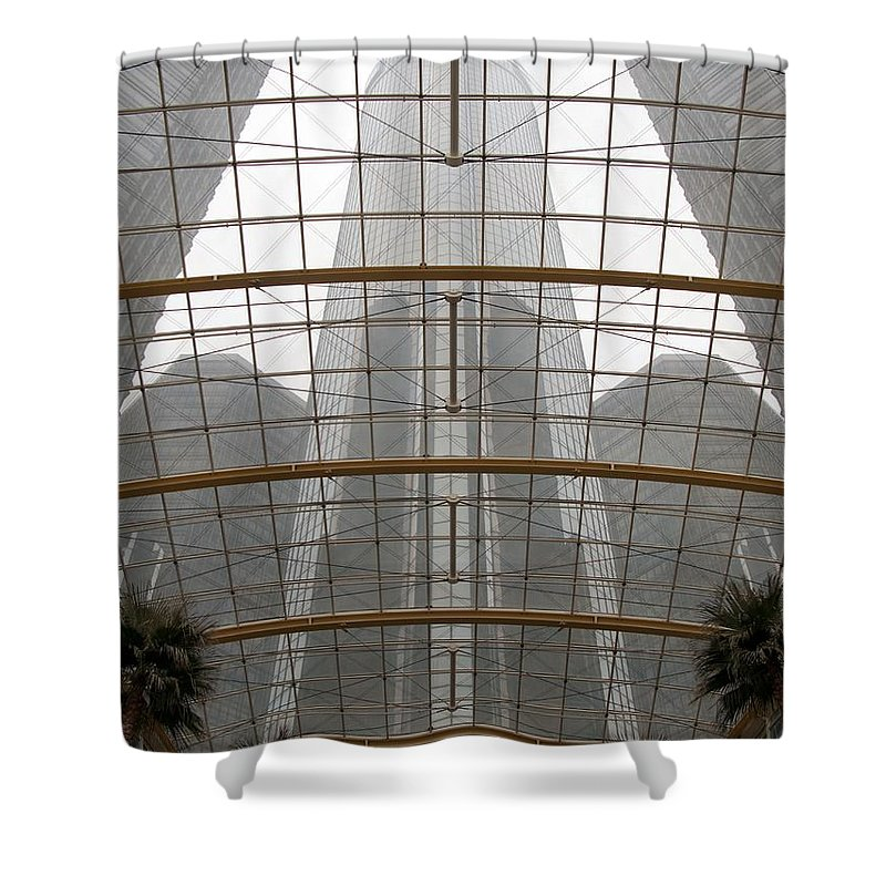 Detroit Shower Curtain featuring the photograph Rencen From Within by Ann Horn