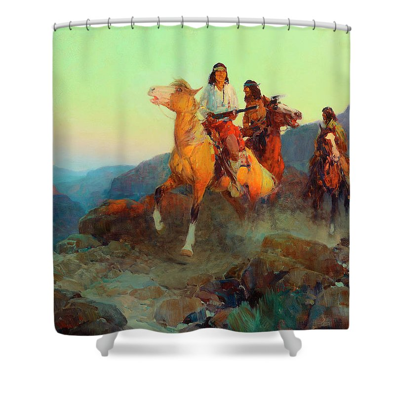 Renegade Apaches Shower Curtain featuring the painting Renegade Apaches by Frank Tenney Johnson