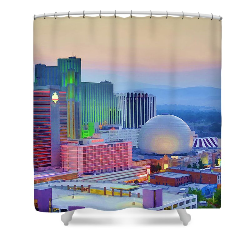 Reno Shower Curtain featuring the photograph Reno At Sunset by Ricky Barnard