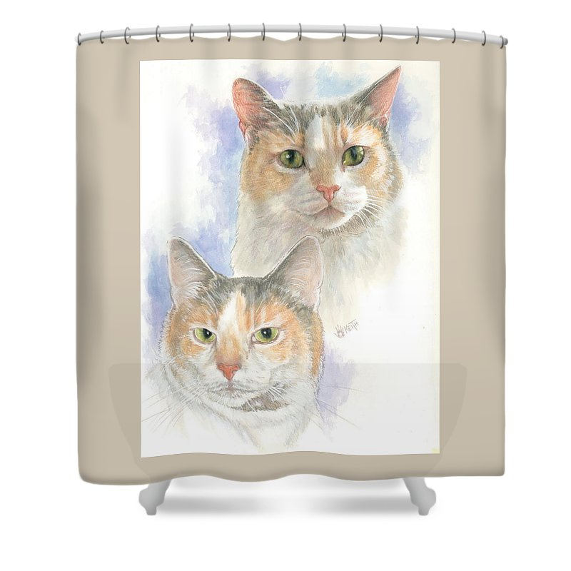 Domestic Shower Curtain featuring the mixed media Reno by Barbara Keith