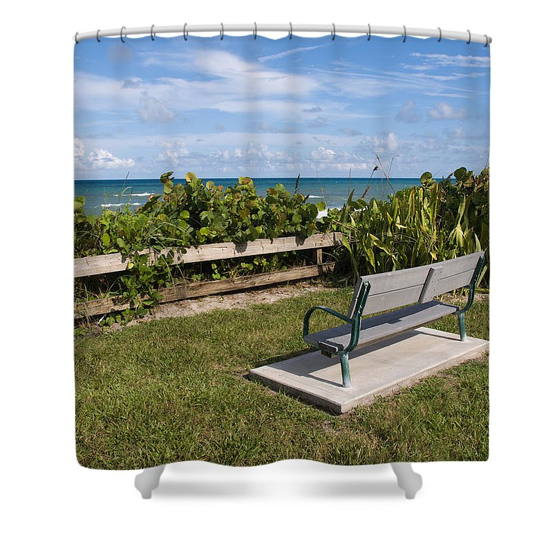 Bench; Public; Florida; Melbourne; Beach; Coast; Shore; Surf; Sand; Brevard; Space; Ocean; Sea; Atla Shower Curtain featuring the photograph Reserved For A Visitor To East Coast Florida by Allan Hughes