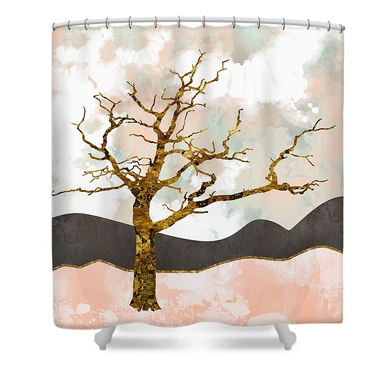 Tree Shower Curtain featuring the digital art Resolute by Katherine Smit