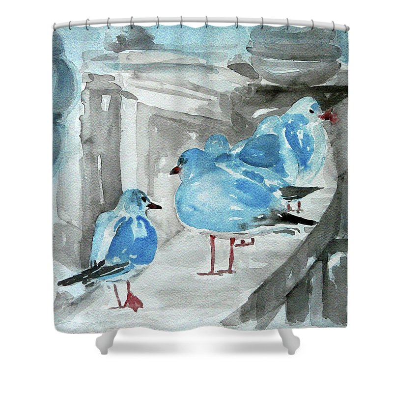 Seagulls Shower Curtain featuring the painting Rest By The Sea by Jasna Dragun