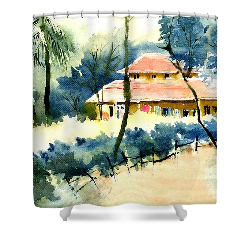 Landscape Shower Curtain featuring the painting Rest House by Anil Nene