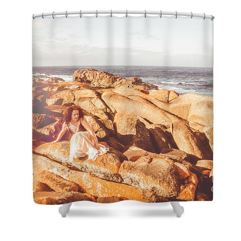 Ocean Shower Curtain featuring the photograph Resting On A Cliff Near The Ocean by Jorgo Photography - Wall Art Gallery