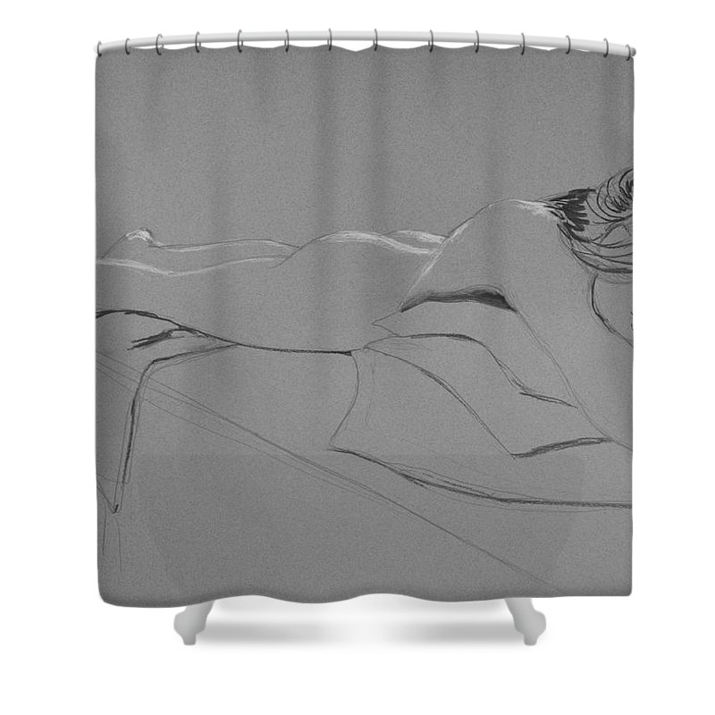 Nude Shower Curtain featuring the drawing Resting On Pillows by Don Perino