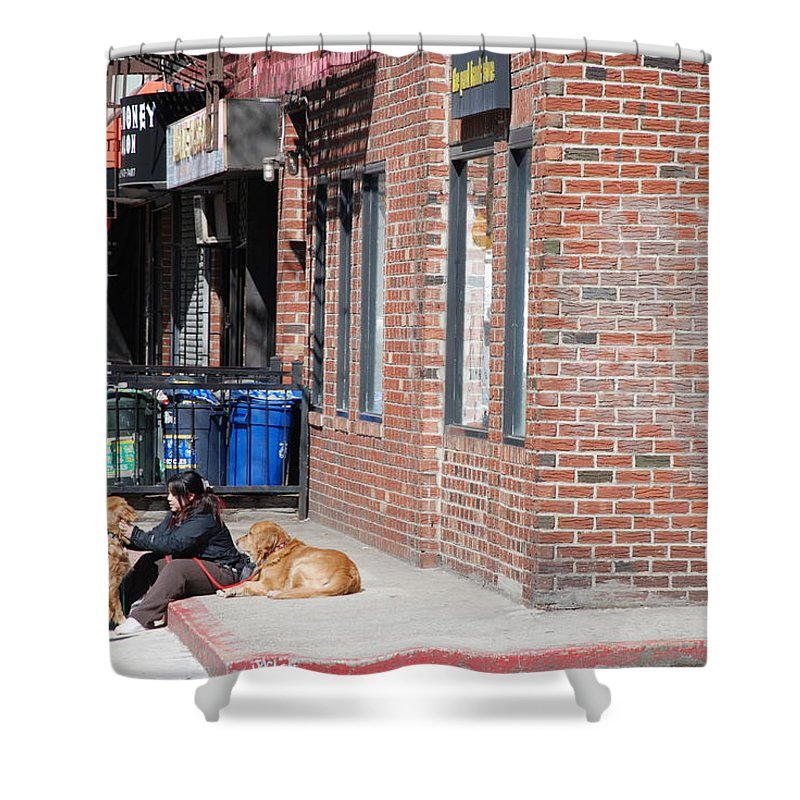 Girl Shower Curtain featuring the photograph Resting On The Corner by Rob Hans