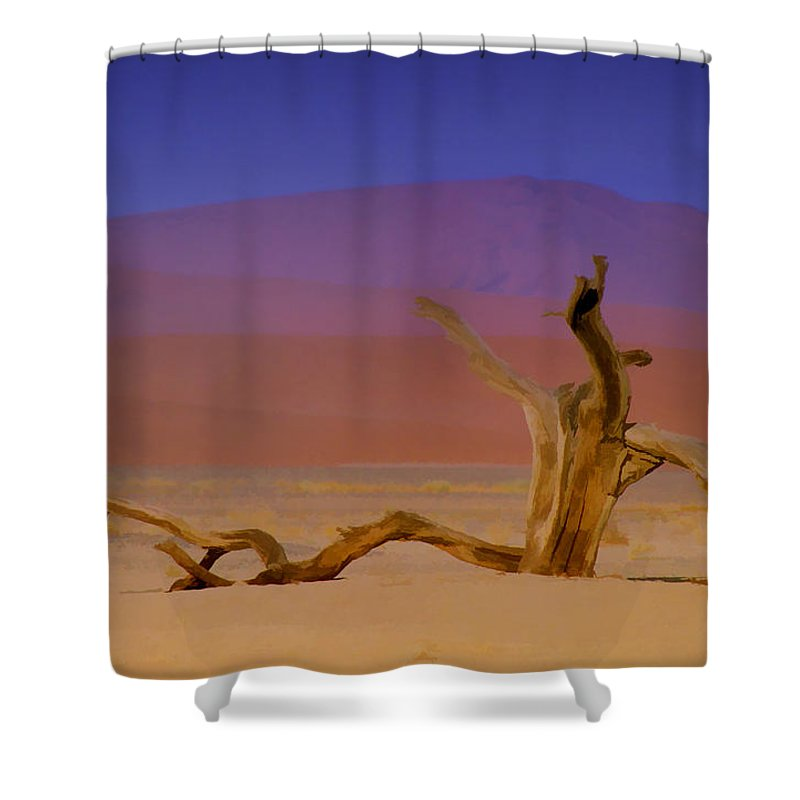Dunes Shower Curtain featuring the photograph Resting Place Of A Dead Tree by Douglas Barnard