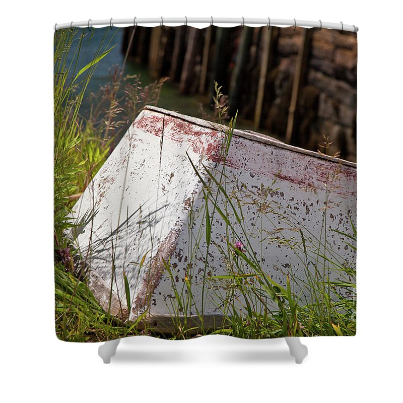 Boat Shower Curtain featuring the photograph Resting Rowboat by Susan Cole Kelly