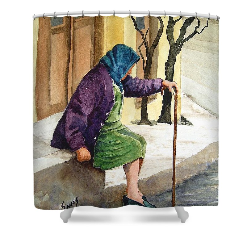 Old Lady Shower Curtain featuring the painting Resting by Sam Sidders