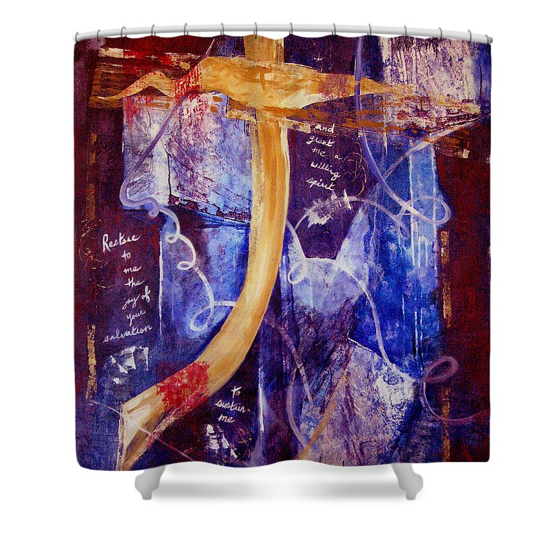Abstract Shower Curtain featuring the painting Restore To Me by Ruth Palmer