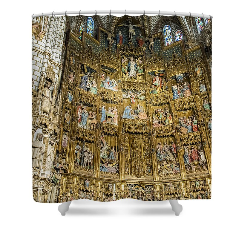 Cathedral Of Saint Mary Of Toledo Shower Curtain featuring the photograph Retable - Toledo Cathedral - Toledo Spain by Jon Berghoff