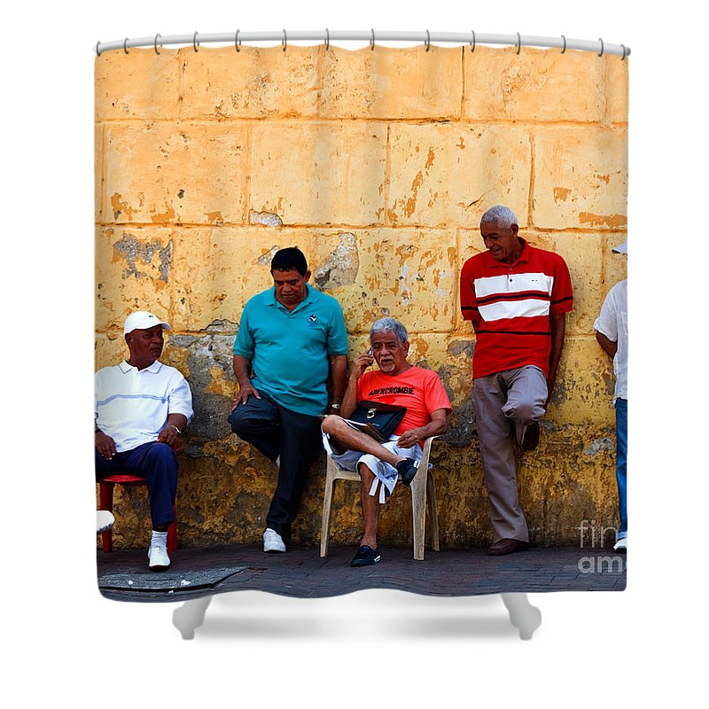 Senior Shower Curtain featuring the photograph Retired Men And Yellow Wall Cartegena by Thomas Marchessault