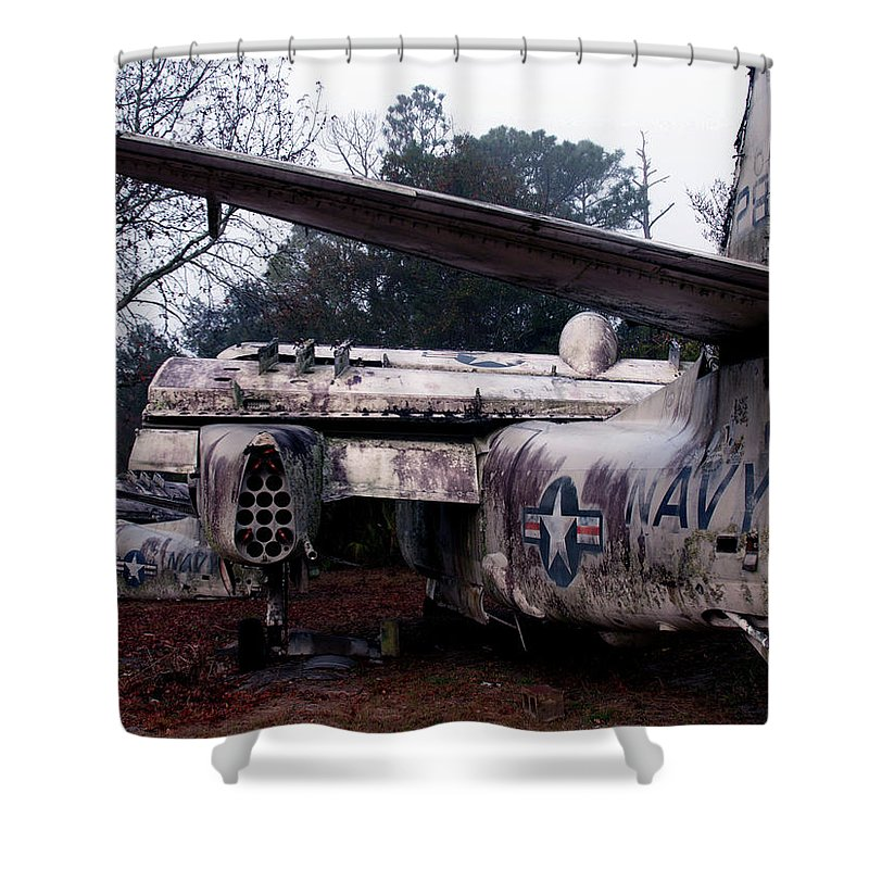 Airplane Shower Curtain featuring the photograph Retired Navy by Bob Johnson