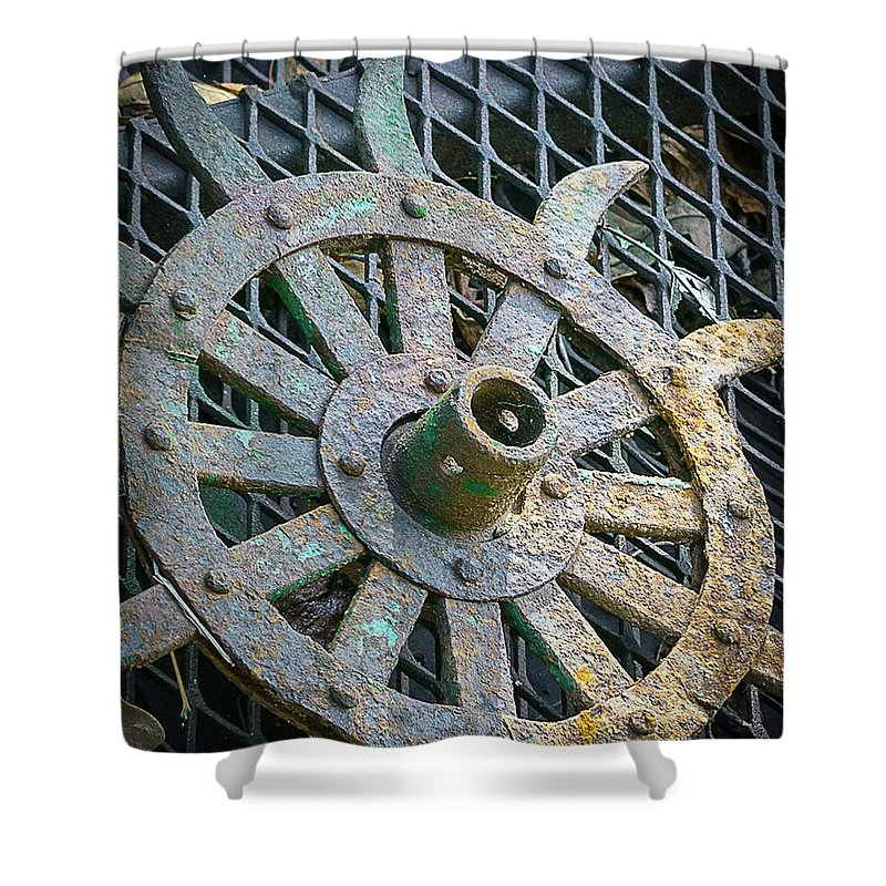Plow Wheel Shower Curtain featuring the photograph Retired Plow Wheel by My Angle On It Photography