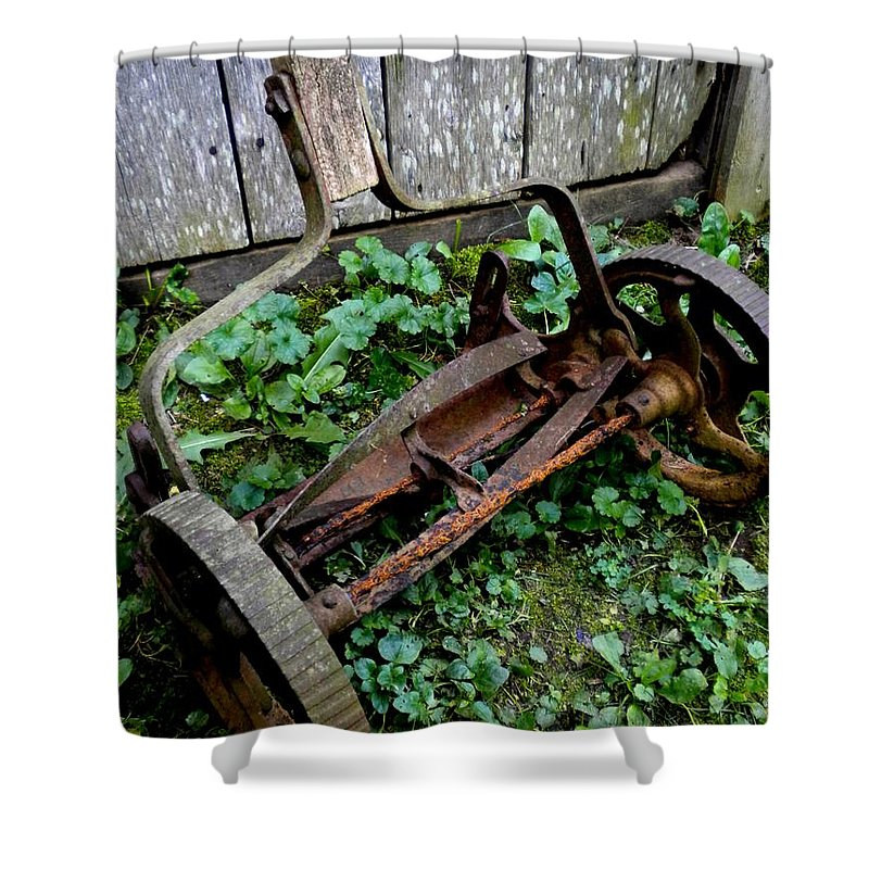 Lawnmower Shower Curtain featuring the photograph Retired by Renate Nadi Wesley