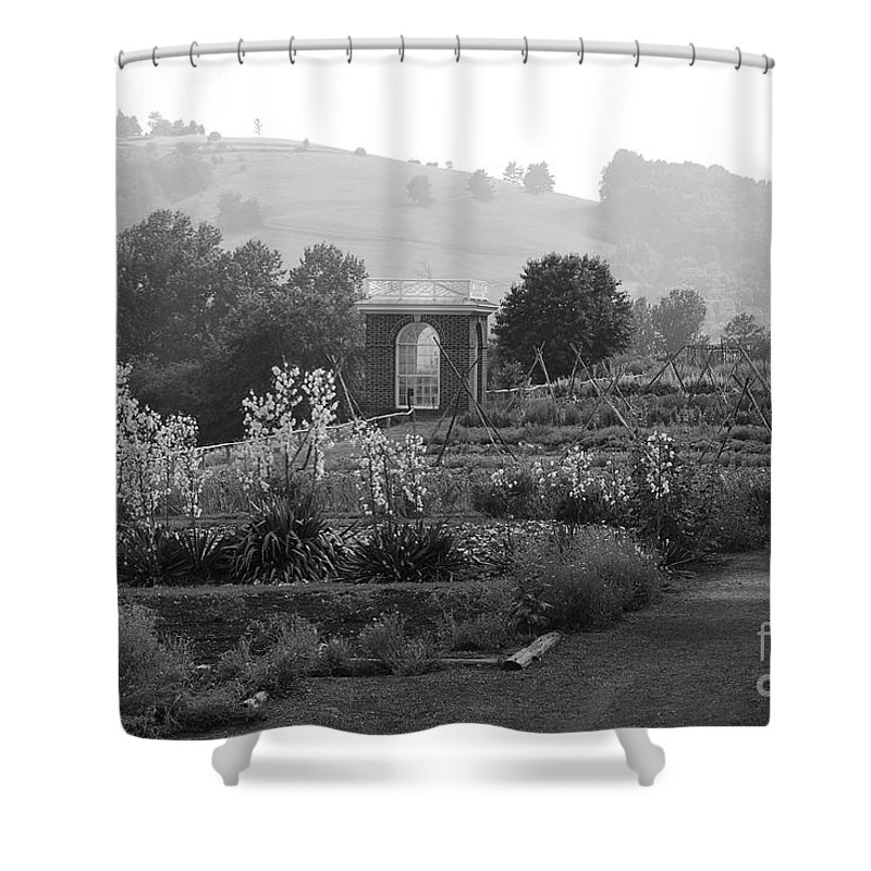 Black And White Shower Curtain featuring the photograph Retreat by Eric Liller