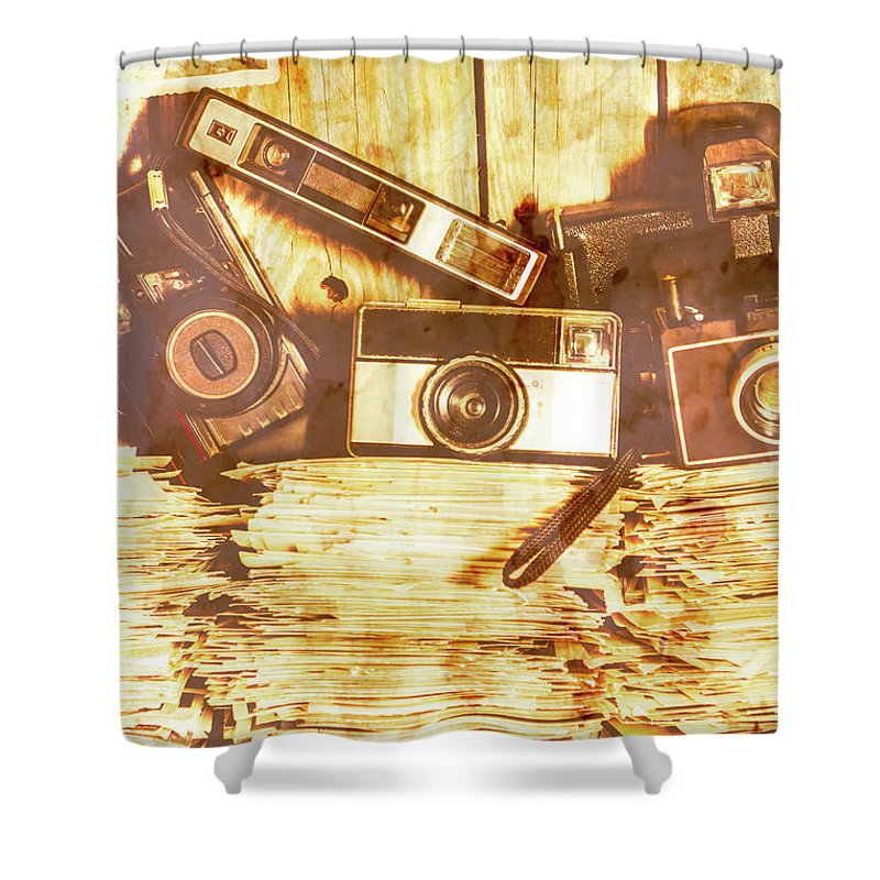Retro Shower Curtain featuring the photograph Retro Film Cameras by Jorgo Photography - Wall Art Gallery