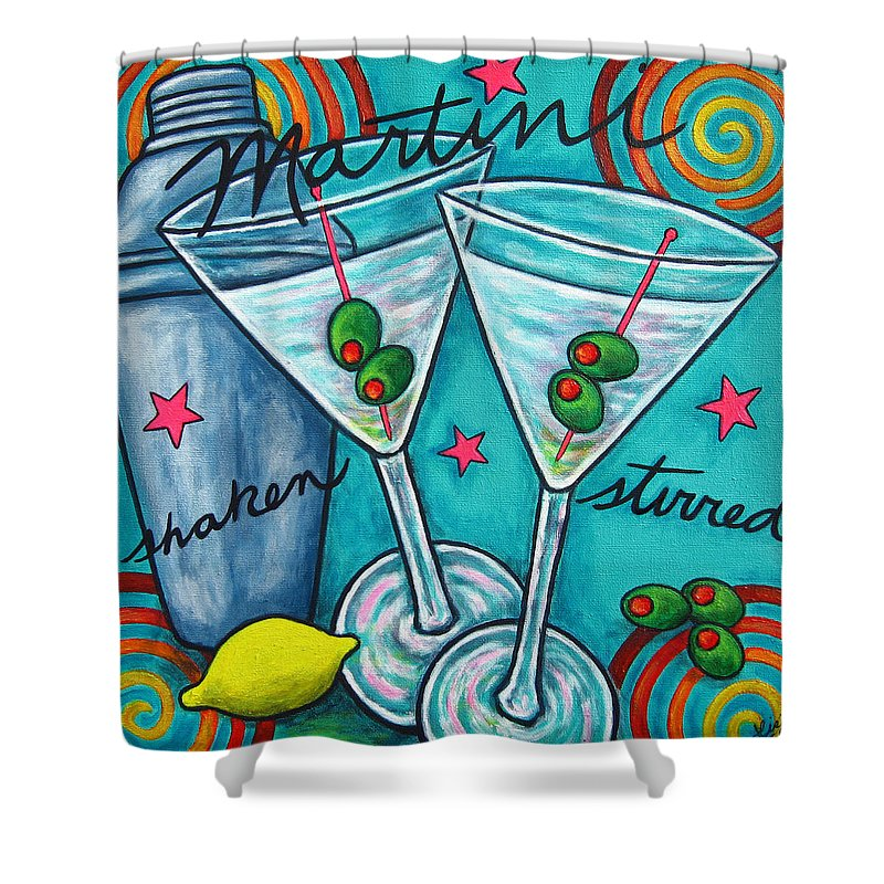 Alcohol Shower Curtain featuring the painting Retro Martini by Lisa Lorenz