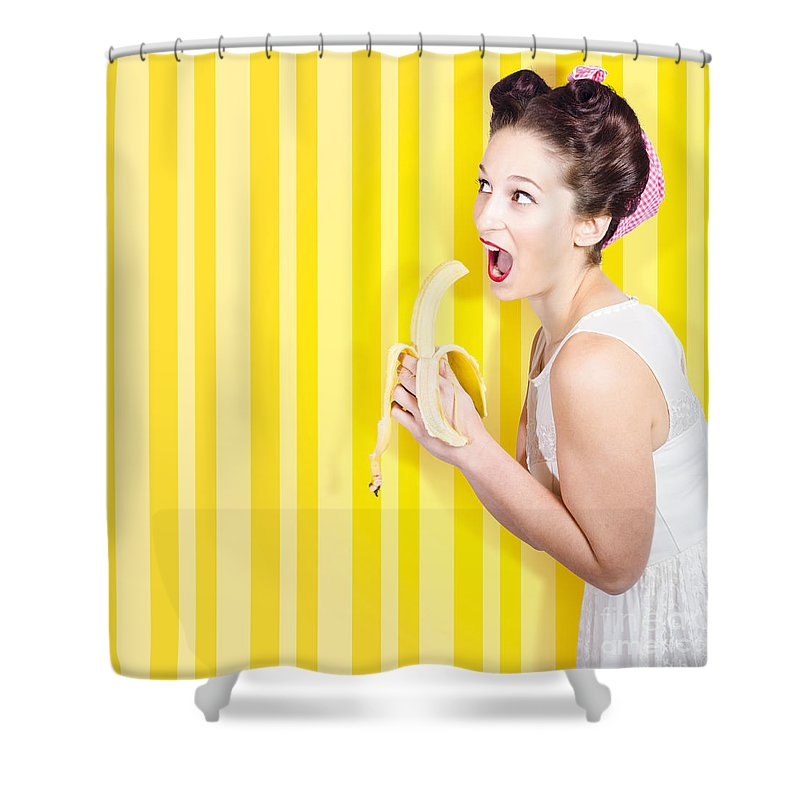 Retro Pinup Girl Eating Banana In 1950s Fashion Shower Curtain for ...