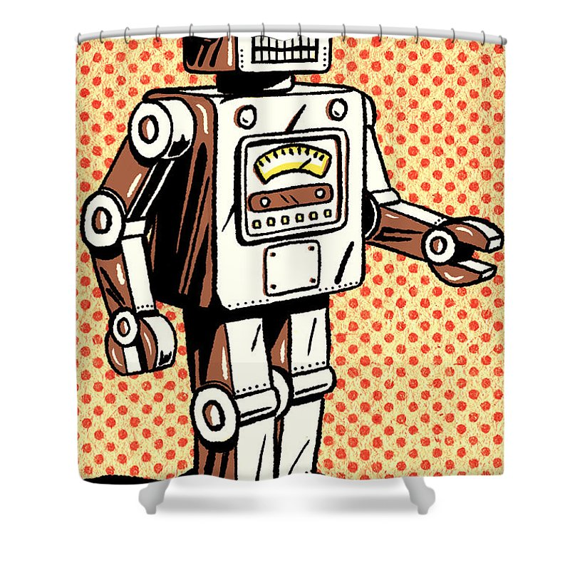 Robot Shower Curtain Featuring The Digital Art Retro By Little Bunny Sunshine