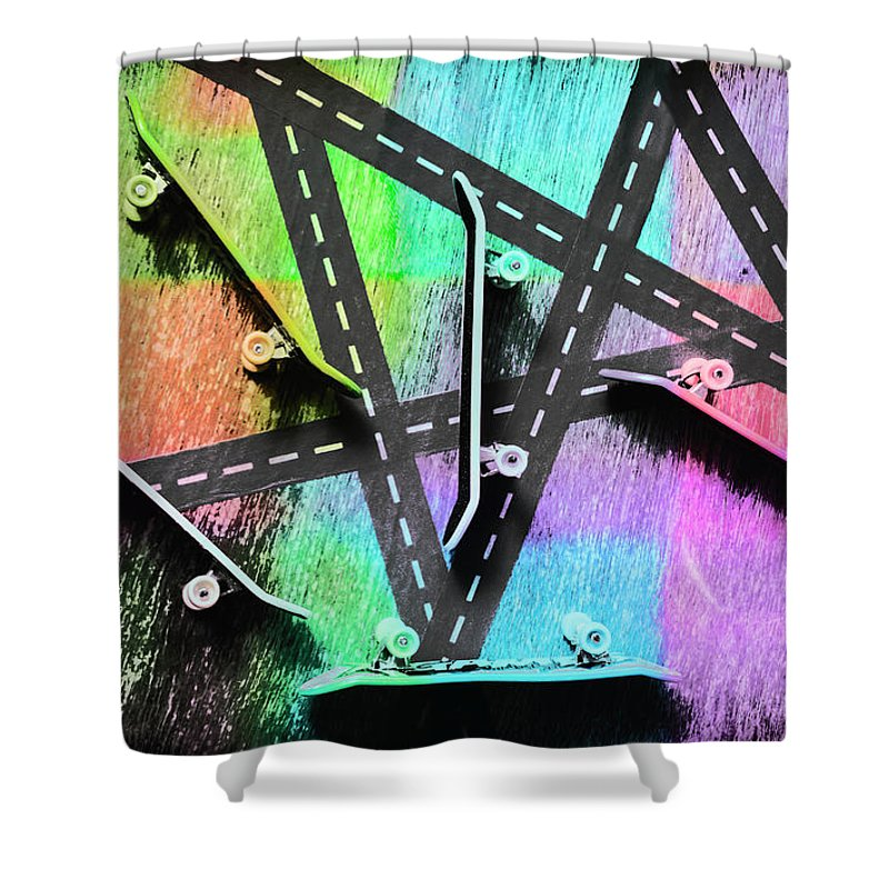 Pop Shower Curtain featuring the photograph Retro Skaters Parade by Jorgo Photography - Wall Art Gallery