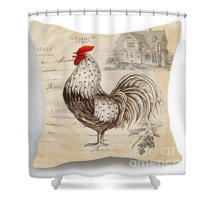 Shower Curtain featuring the tapestry - textile Retro Style Beige Chicken Rooster Farm House by Emily Adam