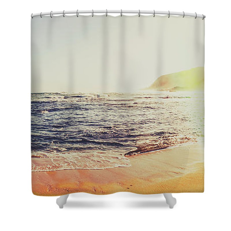 Retro Tasmanian Beach Panorama Shower Curtain For Sale By Jorgo Photography