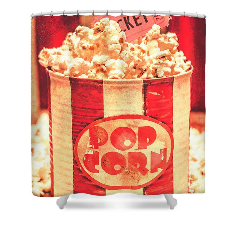 Cinema Shower Curtain featuring the photograph Retro Tub Of Butter Popcorn And Ticket Stub by Jorgo Photography - Wall Art Gallery