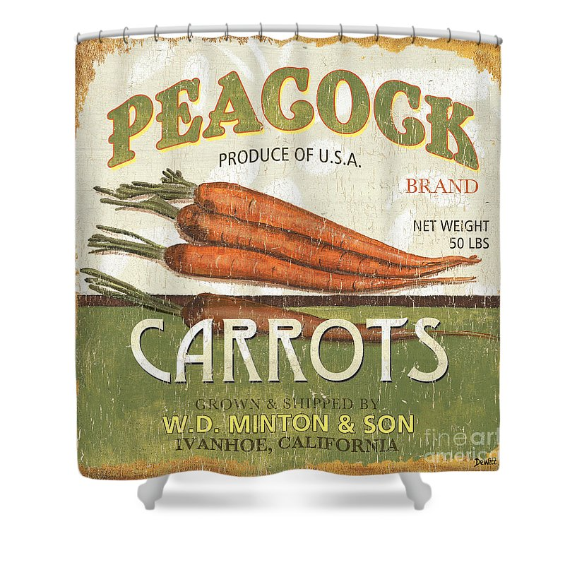 Food Shower Curtain featuring the painting Retro Veggie Label 2 by Debbie DeWitt