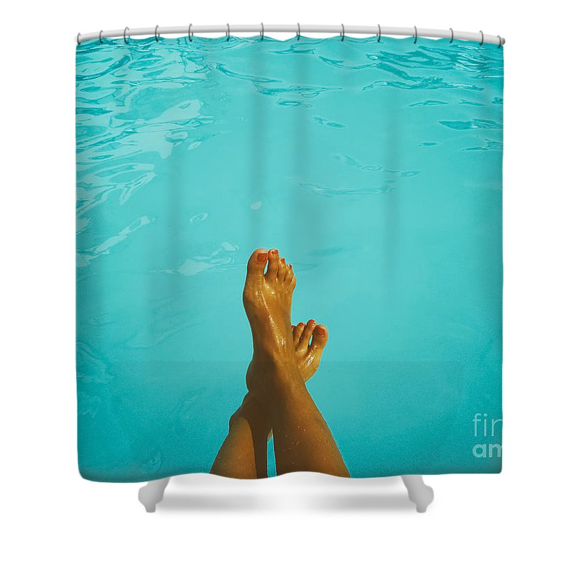 Barefoot Shower Curtain featuring the photograph Retro Young Girl Relaxing Her Feet At Swimming Pool by Radu Bercan